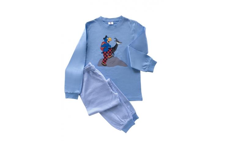 Globi Pyjama hellblau/weiss gestreift Gämse