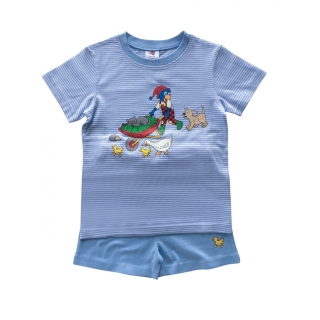 Glöbeli Kinder Pyjama hellblau/weiss gestreift Schubkarre shorty