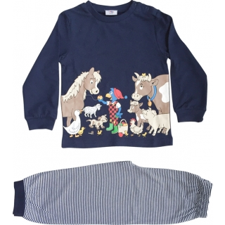 Glöbeli Pyjama langarm dunkelblau Bauernhoftiere