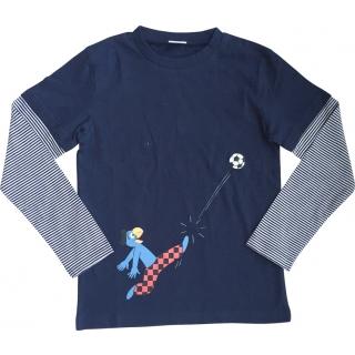 Globi T-Shirt langarm dunkelblau Fussballer