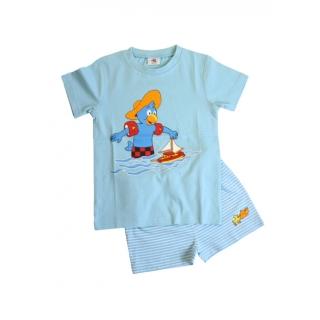 Glöbeli Kinder Pyjama Sommer kurz blau