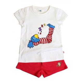 Globine Kinder Pyjama Sommer kurz rot/weiss